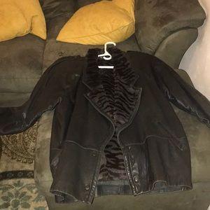 Jackets & Blazers - Genuine leather and rabbit fur coat